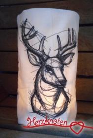 Lichtbeutel, bestickt mit Hirsch, tolles Licht, Lichterbeutel, gemütlich !  - Handarbeit kaufen