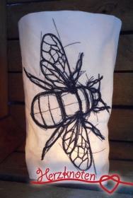 Lichtbeutel, bestickt mit Biene, tolles Licht, Lichterbeutel, gemütlich !