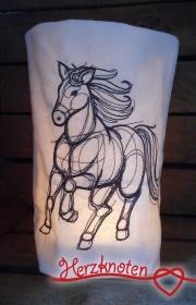 Lichtbeutel, bestickt mit Pferd, tolles Licht, Lichterbeutel, gemütlich !