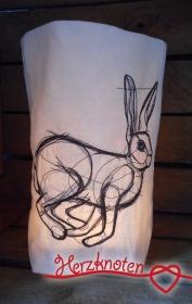 Lichtbeutel, bestickt mit Hase, tolles Licht, Lichterbeutel, gemütlich !