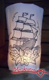 Lichtbeutel, bestickt mit Schiff & Rosen, Tattoo,  tolles Licht, Old School !