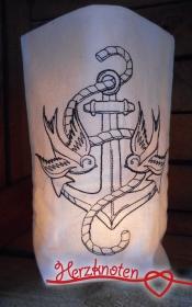 Lichtbeutel, bestickt mit Anker & Schwalben, Tattoo,  tolles Licht, Old School !  - Handarbeit kaufen