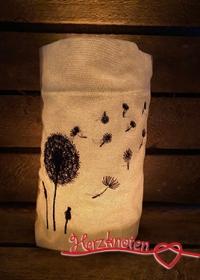 Lichtbeutel, bestickt mit Pusteblume, tolles Licht, gemütlich ! - Handarbeit kaufen