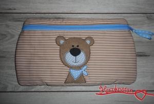 Täschchen mit Bär, beige-weiß, gestreift mit hellblau, super süß ! - Handarbeit kaufen