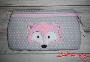 Täschchen mit Fuchs, grau-weiß gepunktet mit rosa, super süß !  - Handarbeit kaufen