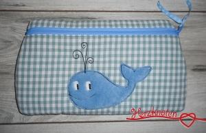 Täschchen mit Wal, mittelblau-weiß kariert mit blau, super süß !   - Handarbeit kaufen