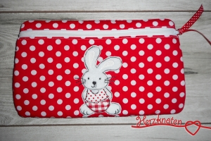 Täschchen mit Hase, rot-weiß gepunktet , super süß !  - Handarbeit kaufen