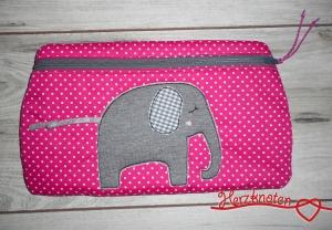 Tasche mit Elefant, pink gepunktet  & grau kariert , super süß ! - Handarbeit kaufen