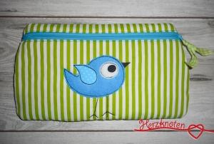 Tasche mit Vogel grün gestreift mit türkis, super süß ! - Handarbeit kaufen