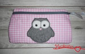 Tasche mit Eule, rosa kariert mit grau, super süß ! - Handarbeit kaufen