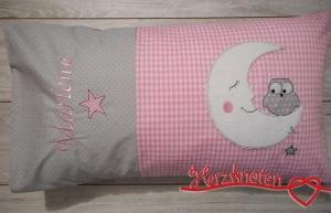 Kissen mit Namen und mit  Eule auf Mond, rosa mit grau, super süß !
