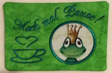 Mug Rug - Mach mal Pause - Froschkönig - kiss me frog - Handarbeit kaufen