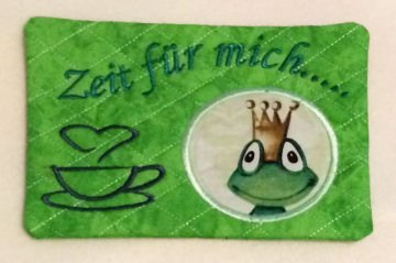 Mug Rug - Zeit für mich...  - Froschkönig - kiss me frog - Handarbeit kaufen