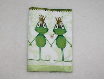 Buchhülle - Taschenbuchhülle - Froschkönig - kiss me frog - Handarbeit kaufen