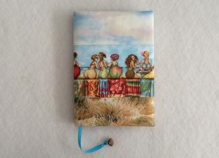 Notizbuch mit Buchhülle A5 - Fruit Ladies am Strand - Handarbeit kaufen