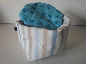 Eierkörbchen/ Eierwärmer *striscio* blu Baumwolle mit Deckel nach Wahl von friess-design - Handarbeit kaufen