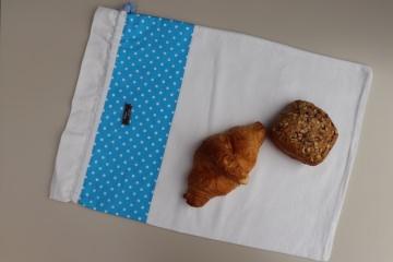 Brotbeutel *Puntini* türkis Baumwolle weiß mit Kordel von friess-design  - Handarbeit kaufen