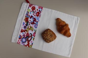 Brotbeutel *strano* bunt Baumwolle weiß mit Kordel, von friess-design  - Handarbeit kaufen
