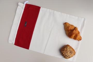 Brotbeutel *rosso* rot Baumwolle weiß mit Kordel von friess-design  - Handarbeit kaufen