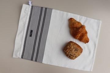 Brotbeutel *elegante* grau Baumwolle weiß mit Kordel