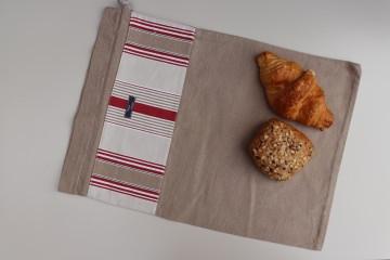 Brotbeutel *vecchio* rot gestreift Baumwolle beige von friess-design mit Kordel  - Handarbeit kaufen