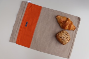 Brotbeutel *Arancia* orange Baumwolle beige