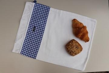 Brotbeutel *Farina* blau-kariert Baumwolle weiß