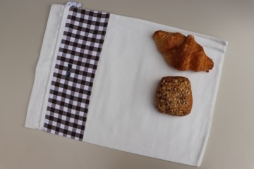 Brotbeutel *Farina* braun Baumwolle weiß