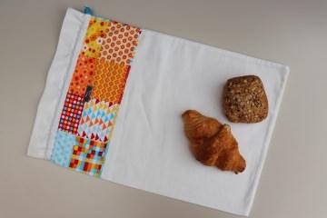 Brotbeutel *strano* bunt Baumwolle weiß von friess-design mit Kordel - Handarbeit kaufen