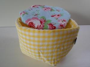 Eierkörbchen/ Eierwärmer *Farina giallo* Baumwolle gelb mit Deckel nach Wahl von friess-design Goldener Anfang