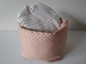 Eierkörbchen/ Eierwärmer *Latte macchiato * Baumwolle hellbraun mit Deckel nach Wahl von friess-design  - Handarbeit kaufen
