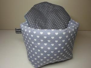 Eierkörbchen/ Eierwärmer *Cuore* Baumwolle grau mit Deckel nach Wahl von friess-design