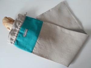 Baguettebeutel *de luxe* Leinen beige/türkis von friess-design mit Baumwollkordel