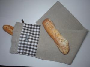 Baguettebeutel *de luxe* Leinen beige/ marrone von friess-design mit Baumwollkordel