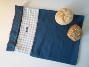 Brotbeutel *Farina grau* Baumwolle blau von friess-design mit Kordel - Handarbeit kaufen