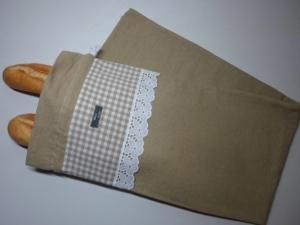 Baguettebeutel *Nostalgia* Baumwolle beige von friess-design mit Kordel - Handarbeit kaufen