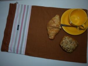 Brotbeutel *de luxe* Leinen terracotta/striscio groß - Handarbeit kaufen