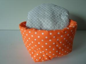 Eierkörbchen/ Eierwärmer *Puntini aranca* Baumwolle orange mit Deckel nach Wahl von friess-design  - Handarbeit kaufen