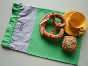 Brotbeutel *de luxe* Leinen grün/sottile von friess-design mit Baumwollkordel