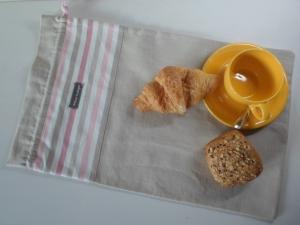 Brotbeutel *de luxe* Leinen hellbeige/ rosa-weiß gestreift
