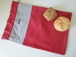 Brotbeutel *Amore* Baumwolle rot/ sottile von friess-design mit Kordel - Handarbeit kaufen