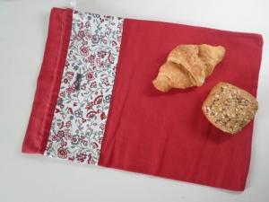 Brotbeutel *Amore* Baumwolle rot/ Blumen von friess-design  - Handarbeit kaufen