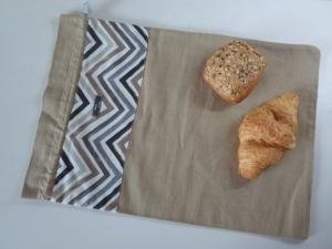 Brotbeutel *Zigzag beige* Baumwolle beige mit Kordel, von friess-design