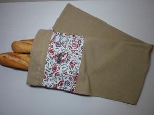 Baguettebeutel *Fiori* Baumwolle beige von friess-design mit Kordel - Handarbeit kaufen