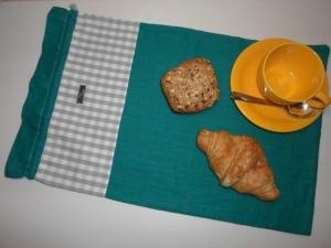 Brotbeutel *de luxe* Leinen türkis/ grau von friess-design mit Baumwollkordel