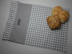 Brotbeutel *speciale* Baumwolle grau-kariert/ sottile von friess-design - Handarbeit kaufen