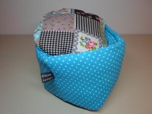 Eierkörbchen/ Eierwärmer *Puntini* Baumwolle türkis mit Deckel nach Wahl von friess-design  - Handarbeit kaufen