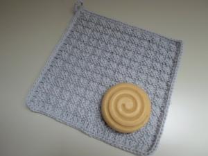 gestrickter Waschlappen/ Spüllappen aus Baumwolle *grau* von friess-design