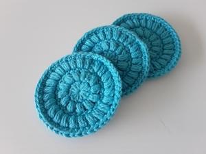 Kosmetikpads/ Abschminkpad Baumwolle *türkis* 3 Stück von friess-design  - Handarbeit kaufen