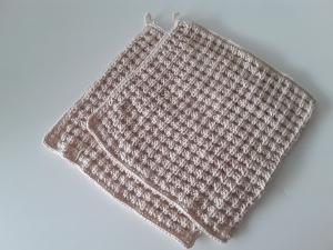 Handgestricke Spüllappen/ Putzlappen/ Waschlappen aus Baumwolle *natur* 2 Stück von friess-design  - Handarbeit kaufen